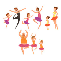 Ballet girls and their fathers in tutu dress dancing in ballet studio cartoon vector Illustrations on a white background