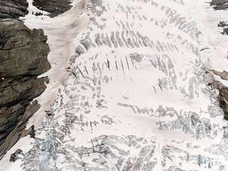 Photo of Tuftebreen - glacier in Norway is nearby to Steinmannen and Bakli. Aerial view.