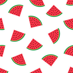 Seamless pattern with colorful watermelons slices