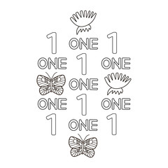 Numeral and word one, butterfly, flowers. Coloring page.