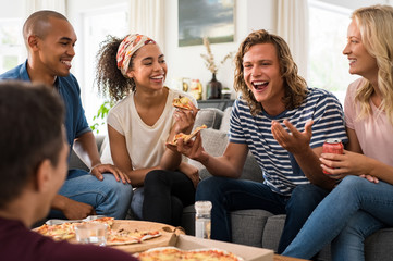 Friends enjoying pizza party
