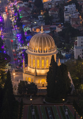 Bahai shrine in Haifa city at night
