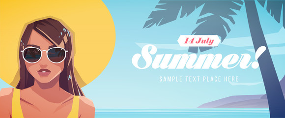 Illustration of girl in a hat on a tropical landscape background. Summer vacation poster or flyer