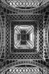 Wall Mural - The Eiffel Tower, abstract view from below, Paris France
