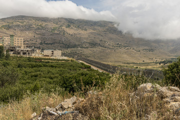 Majdal Shams, druze village at the northern Golan Heights in Israel with view on the Syrian side