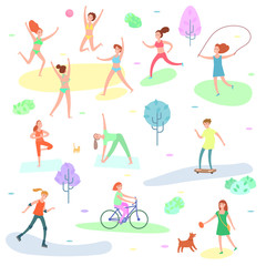 Outdoor activity illustration. Sport, running people, yoga in park.