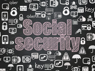 Protection concept: Chalk Pink text Social Security on School board background with  Hand Drawn Security Icons, School Board
