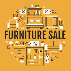 Furniture sale banner illustration with flat line icons. Living room, bedroom, home office chair, kitchen, sofa, nursery, lamp, sideboard. Circle template linear signs interior store yellow poster.