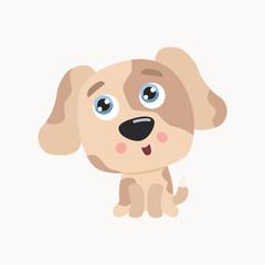 Cute puppy vector illustration. Flat design.