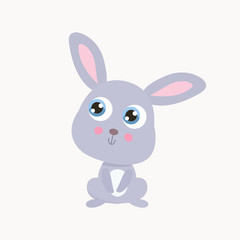 Cute little rabbit vector illustration. Flat design.