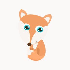 Cute little fox vector illustration