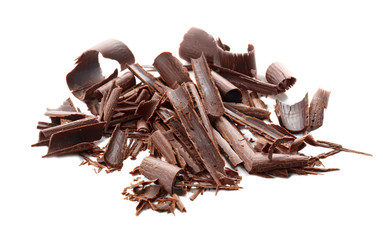 Chocolate curls, isolated on white
