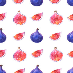 Hand painted minimalist seamless pattern with watercolor slices and whole fig isolated on white background