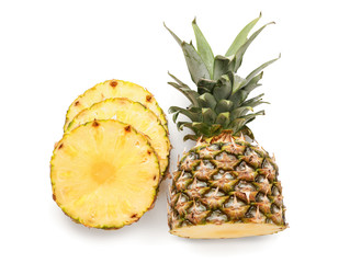 Sliced fresh pineapple on white background