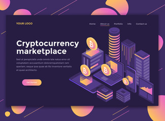 Flat Modern design of website template - Crypto currency marketplace