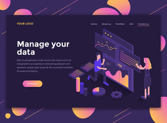 Flat Modern design of website template - Manage your data