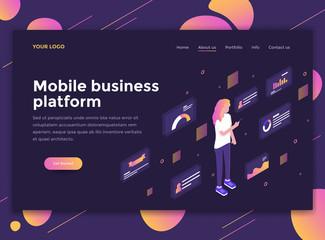 Flat Modern design of website template - Mobile business platform