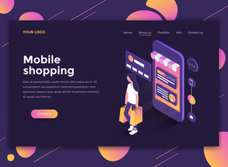 Flat Modern design of website template - Mobile Shopping