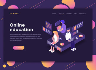Flat Modern design of website template - Online Education