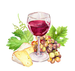 Wineglass with vine leaves, cheese, grape berries. Watercolor