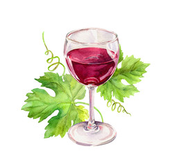 Wine glass with vine leaves, scrolls. Watercolor