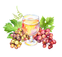 White wine glass, vine leaves and grape berries. Watercolor