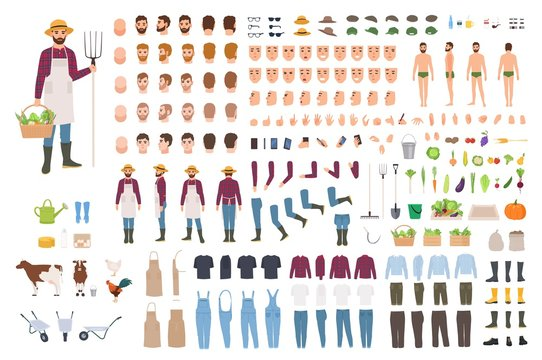 Farmer, farm or agricultural worker constructor or DIY kit. Set of male character body parts, facial expressions, clothes, working tools isolated on white background. Cartoon vector illustration.