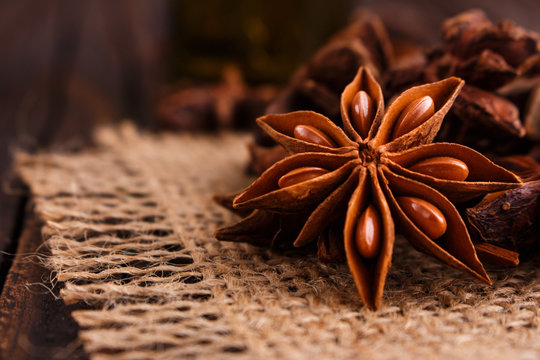 anise stars on a dark rustic background