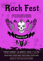Rock Fest Forever Announcement Vector Illustration