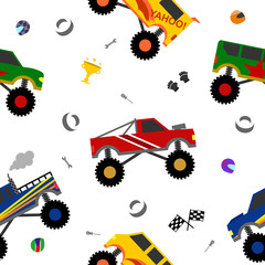 vector truck seamless pattern for decoration, scrapbooking, printing on fabric, banner, greeting card, sale, gift wrap, promotion, party poster. cute kids auto, car cartoon style. vector 10 eps