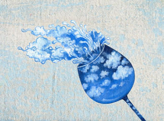 Art Design Surreal Wine Glass . Hand acrylic color painting on canvas.