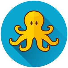 octopus circle blue icon concept
