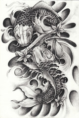 Fancy Carp Fish Tattoo.Hand pencil drawing on paper.