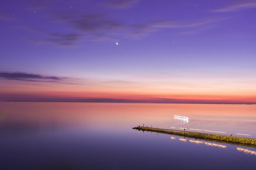 Fotobehang Snoeien Seascape, view of breakwater, long exposure, Black Sea, Small Bay, Anapa, Russia