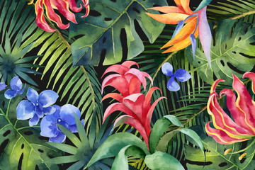 Watercolor vector banner with tropical leaves and bright exotic flowers isolated on white background.