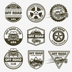Off-road suv car set of vector monochrome emblems