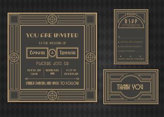 ART deco vector  wedding invitation card  template set.