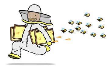 Imker mit Honigwaben rennt vor Bienen davon