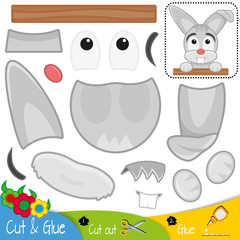 Funny gray hare. Rabbit. Education paper game for preshool children. Vector illustration.