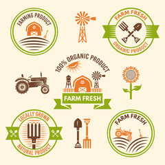 Farm fresh food and organic products vector badges
