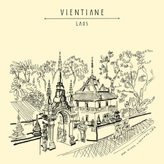 Vientiane, Laos, Southeast Asia. Vintage hand drawn touristic postcard in vector