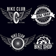 Set of vintage and modern bike shop logo badges and labels. Cycle wheel isolated vector. Old style bicycle shop and club logotypes.