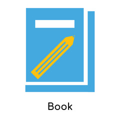 Book icon vector sign and symbol isolated on white background, Book logo concept
