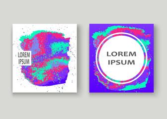 Neon splash artistic cover design. Fluid holographic gradient explosion splatter texture background. Trendy creative template vector Cover Report Catalog Brochure Flyer Product