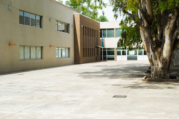 Empty school courtyard