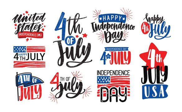 Collection of USA Independence Day lettering written with artistic calligraphic fonts and decorated. Set of handwritten holiday inscriptions isolated on white background. Vector illustration.