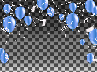 Celebration party banner with blue balloons and serpentine silver