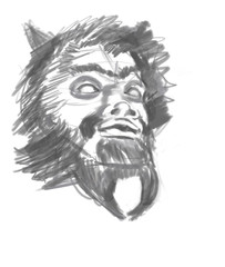 Retro image of a satyr. Sketch.