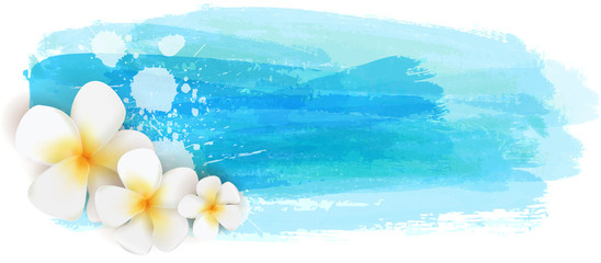 Brushed backgrounds with flowers. Blue colored.