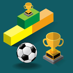 Soccer Cup Concept - Isometric Vector